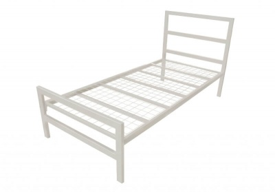 Eaton Ivory Metal Single Bed Frame - Contract Spec Mesh Base